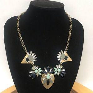 J Crew Blinged Jeweled Pendant Statement Necklace